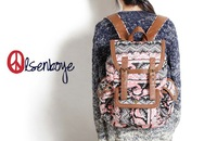 Autumn and winter geometry puzzle double buckle casual canvas backpack student schoolbags children knapsack in school