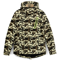 Vintage Men HARAJUKU hiphop all-match thermal windproof wadded jacket autumn and winter outerwear dovetail Camouflage male
