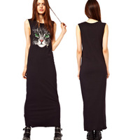 Black Jersey Maxi Dress Print Cat Face Casual Long dress women