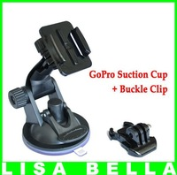 GoPro Car Suction Cup Mount with Buckle Clip for GoPro HD Hero,Hero2,Hero3, AEE Outdoor Cameras , Free Shipping