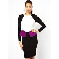 New Autumn Fashion Women Long Sleeve Color Block Peplum Elegant Dress Plus Size Boutique Dresses 1027 XXL