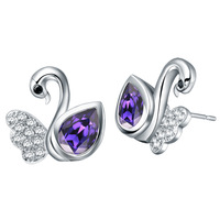 Free Shipping Best Quality Platinum Plated Crystal Swan Earrings,Fashion Rhinestone Earrings Wholesale Fashion Jewelry 18KR546