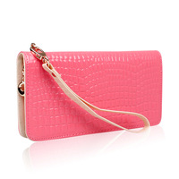 2013 candy color japanned leather wallet girls classic stone pattern zipper long design wallet