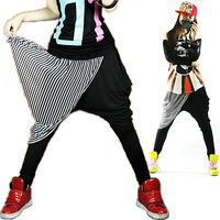 Jazz dance costume clothes sports pants hiphop jazz patchwork harem pants crotch pants big female 0298