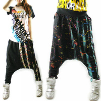 Plus size doodle jazz dance trousers hiphop hip-hop pants female harem pants trousers jazz spring and summer 8690
