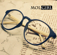 Myopia d7 vintage leopard print glasses non-mainstream big black circle eye frame plain mirror