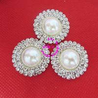30mm round shape rhinestone and pearl embellishment, diamante rhinestone and pearl embellishmen cluster, 120pcs/lot