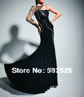 New Jersey Fabirc Handmake Beads One Shoulder Mermaid High End Long Sleeve Evening Dress Floor Length Free Shipping