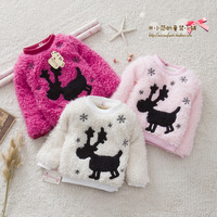 Children's clothing female child autumn and winter  child plus velvet thickening onta basic shirt clothing