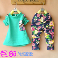 children's autumn and winter clothing 1 2 3 - - - 4 female child baby clothes twinset child set