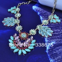 High Quality Sweet Green and Blue Opal Charming Crystal Flower Costume Choker Necklace