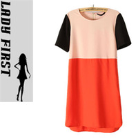 Lady first 2013 summer women's z color block decoration one-piece dress shirt