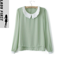 Autumn female double layer chiffon fresh peter pan collar shirt basic shirt