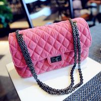 Plush embroidery lock bag 2013 winter plaid chain bag shoulder bag messenger bag fashion bag