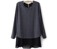 Autumn women's chiffon patchwork medium-long faux two piece basic shirt
