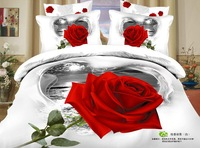 4pcs unique red rose white queen size 3d cotton comforter  bedding set sheets quilt duvet cover bedclothes bed linen bedspreads