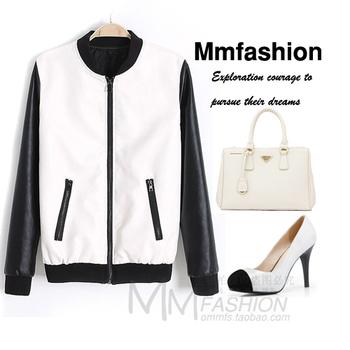 Women's fashion baseball leather clothing short jacket