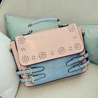 Color block strap messenger bag 2013 winter new arrival vintage british style handbag messenger bag women's handbag