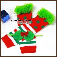 Sunshine store #2B1920  5 set/lot Christmas Leg Warmer wrinkle Baby Girl Shabby Sequin bow Headband Candy Cane Set stocking CPAM