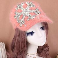 Winter rabbit fur female cap baseball cap rhinestone millinery fashion black hat