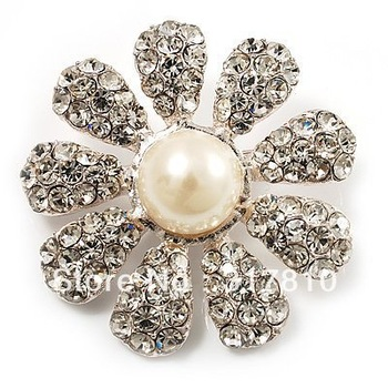 Vintage Style Rhinestone Crystal and Pearl Center Suncflower Jewelry Brooch for Wedding