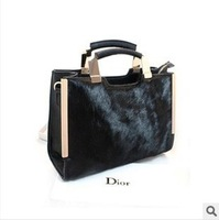 New 2013 fashion generous shaping horsehair winter black bag, women handbag messenger bags shoulder bag free shipping