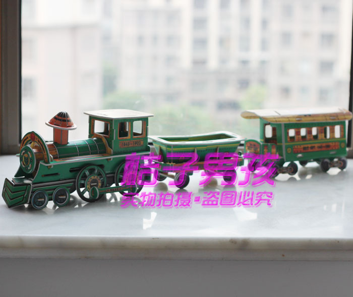 3d puzzle toy model diy - classic model train xy-636 Toy Vehicles Diecasts(China (Mainland))