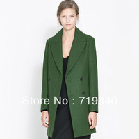Women's double breasted woolen overcoat woolen outerwear