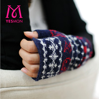 Ym women's gloves female winter medium-long thermal semi-finger lucy refers to gloves sheep wool knitted