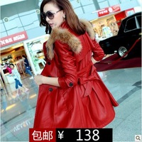 2013 spring and autumn women's fur collar autumn medium-long motorcycle leather clothing female leather jacket trench outerwear