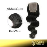 Free shipping Silk Base Top Closure 4''x3.5'' (H/L) Brazilian Virgin Hair Queen Weave Beauty