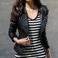 2013 autumn women's coat short design PU clothing zipper-up long-sleeve slim motorcycle leather jacket