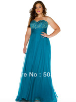 Free shipping blue crystal plus size evening dresses new fashion 2014 evening party dress long formal evening dress gown