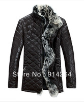 Man's long Sheep skin Very large Raccoon fur collar fur Down jacket coat US SIZE XS S M L XL XXL /free shipping by FEDEX /EMS