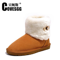 Free shipping high-quality women ladies warm girls winter snow boots shoes winter 100% genuine leather and plush Mid-Calf boots