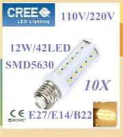 10pcs Super brightness 12W E27 E14 B22 SMD 5630 42 LED Screw Corn Light  360 degree lighting angle led bulb FREE SHIPPING