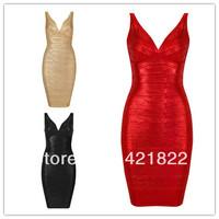 Dress party elegant High Quality New Fashion V-Neck Red Gold Black Foil-Print Sling Bandage Dress Bodycon Wedding Dress hl