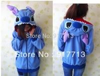 New Arrival !  Blue Stitch Fashion Animal Hoodie Lovely Stitch Coat Cosplay With Ears Zip Hoody Warm Polar Fleece,Size S-XL