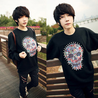2013 autumn multicolour skull print rivet o-neck sweatshirt male pullover sweatshirt male