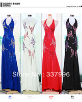 2014 Long Design Formal Dress Handmade Diamond Halter-neck Slim Deep V-neck Banquet Evening Dress