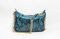 Top quality new style PVC snake skin gold chains blue women ambre tote handbag shoulder bag fashion gift free shipping wholesale