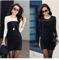 free shipping women ladies sexy cotton lace dress, maxi casual dress S M L XL for spring and autumn promotion