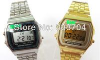 2013 HOT Promotion ! Fashion  LED sports watch foreign trade wristwatch 91w steel belt of thin digital watch f91 & A159 Dropship