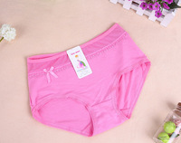 Free Shipping-6 pcs/lot wholesale Girls' Lovely Cotton Solid Lace Bow Low waist underpant,Girls' Panties underwear,mix colors
