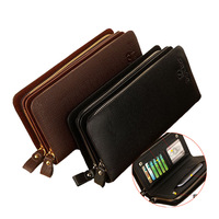 Genuine leather male casual commercial day clutch bag long double zipper design multi card holder large capacity clutch