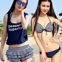 2014 new hot spring season fashionable stripe bikini 4 pieces swimwear, cake skirt hot pants suit,  with coat swimsuit