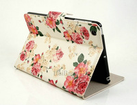Fashion cute stand flip folio Flower Series Pastoral Style Printed leather case cover for apple iPad mini 0774 free shipping