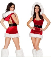 2013 New Style Red With White Furry Christmas Fancy Dress Sexy Ladies Backless Fantasy Party Costume Outfit With Attached Hood