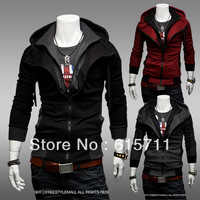 2013 Fashion Korean Thin Hoodies Fleece For Men Slim Fits Jackets Contrast Color Fake Twinset US XS S M L #Y14WY22