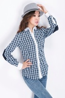 The Joining Together Of 2013 Autumn Winters Color Patch Cotton Plaid Shirt Sleeves Wholesale New Women's Clothing In Europe
